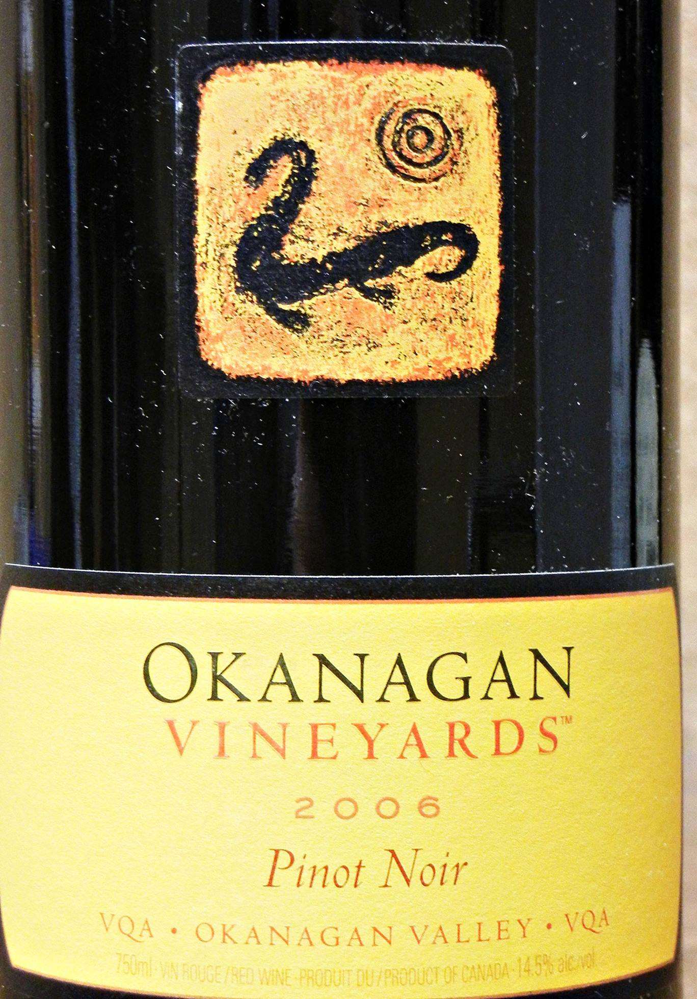 Okanagan Vineyards Pinot Noir 2006 Label - BC Pinot Noir Tasting Review 1