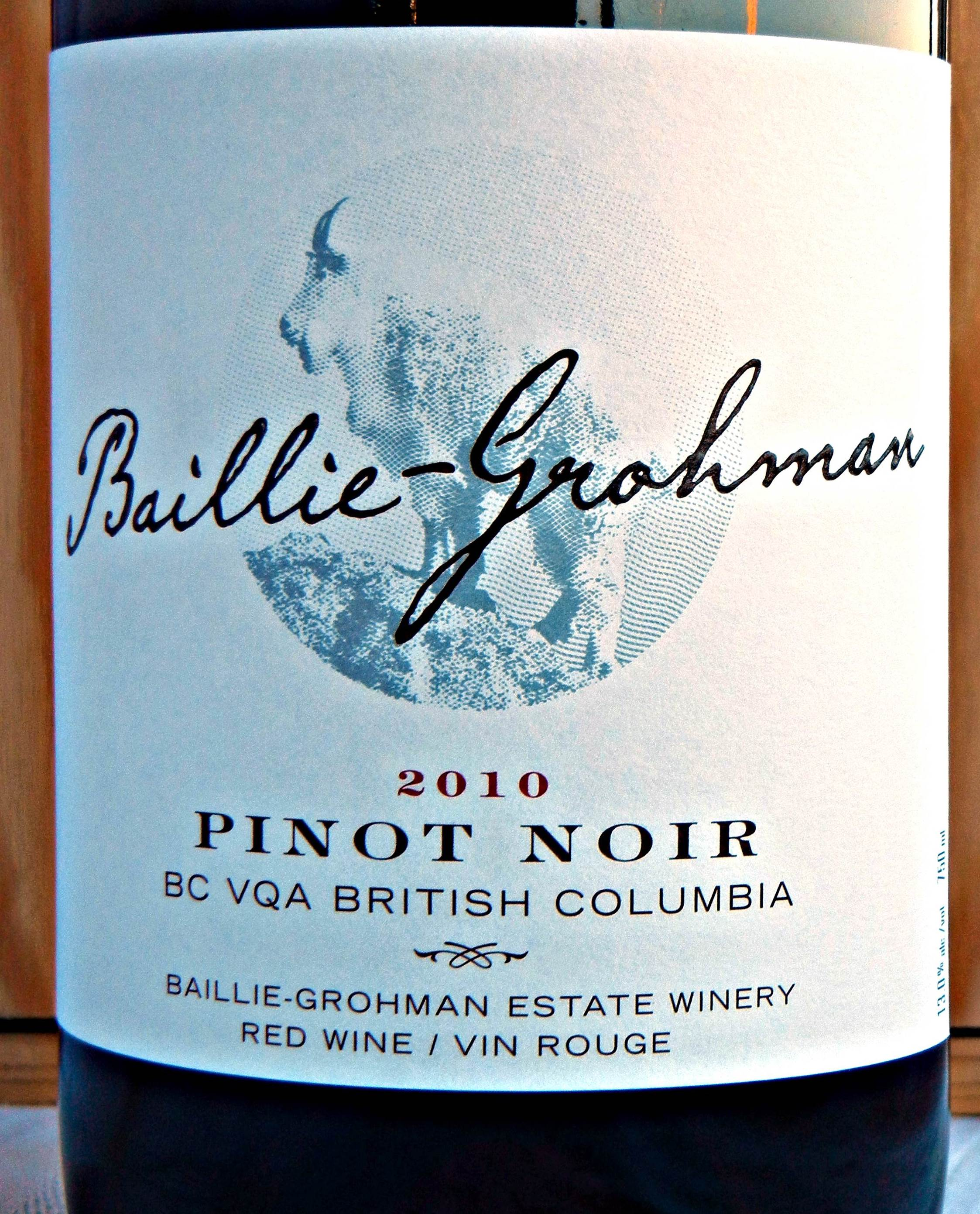 Baillie Grohman Pinot Noir 2010 Label - BC Pinot Noir Tasting Review 10