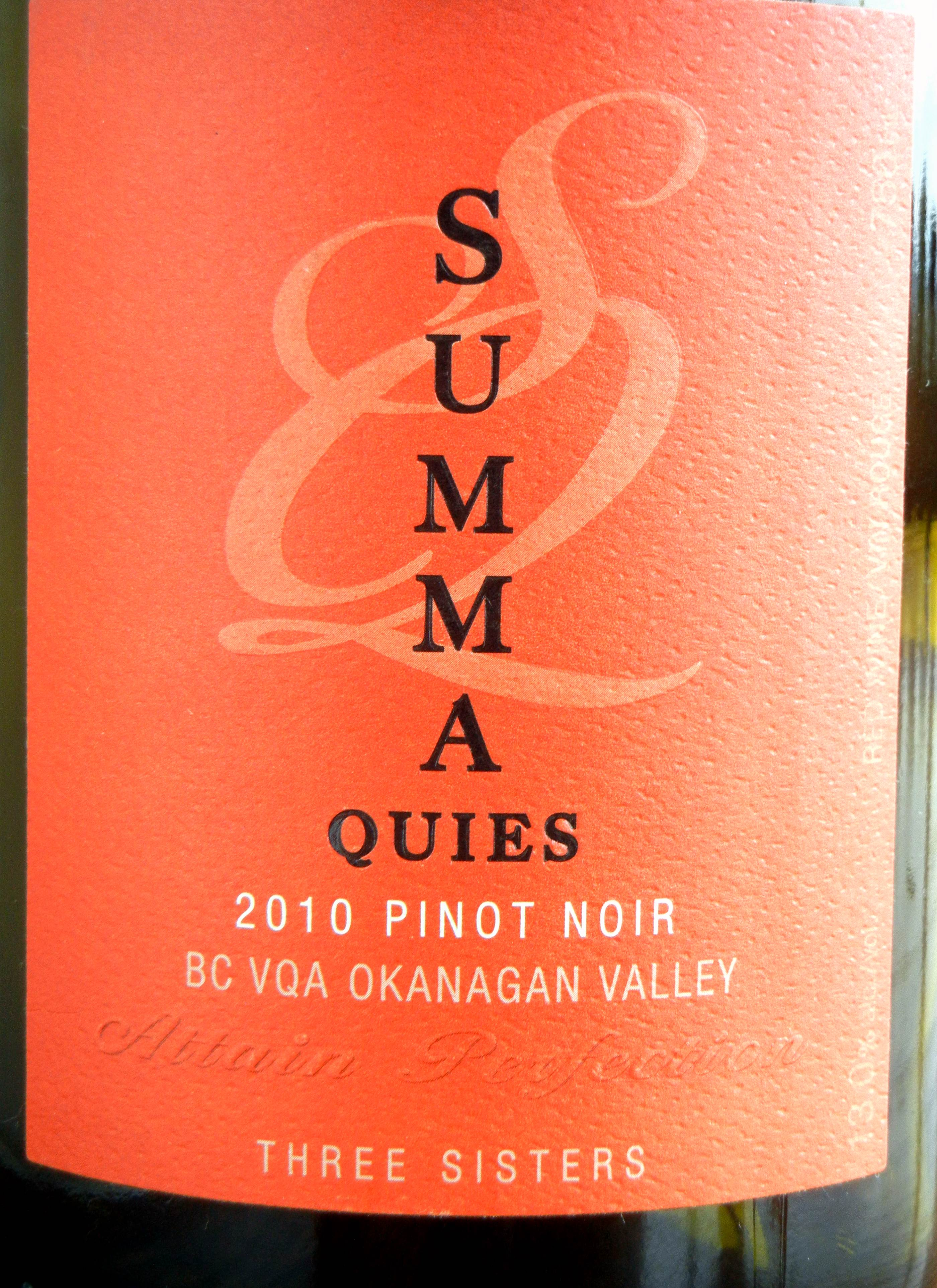 Howling Bluff Summa Quies Three Sisters Pinot Noir 2010 Label - BC Pinot Noir Tasting Review 10