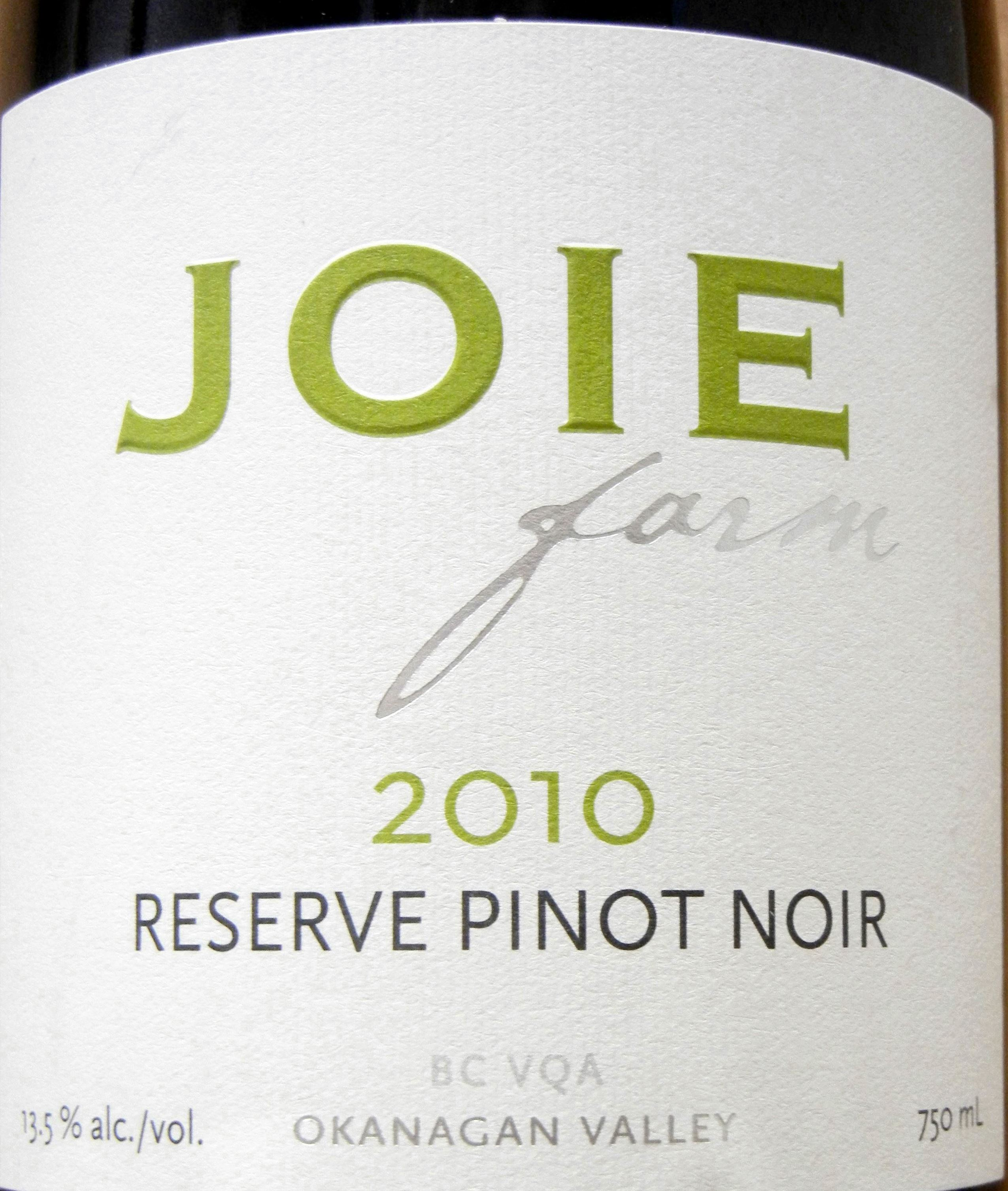 Joie Reserve Pinot Noir 2010 Label - BC Pinot Noir Tasting Review 10