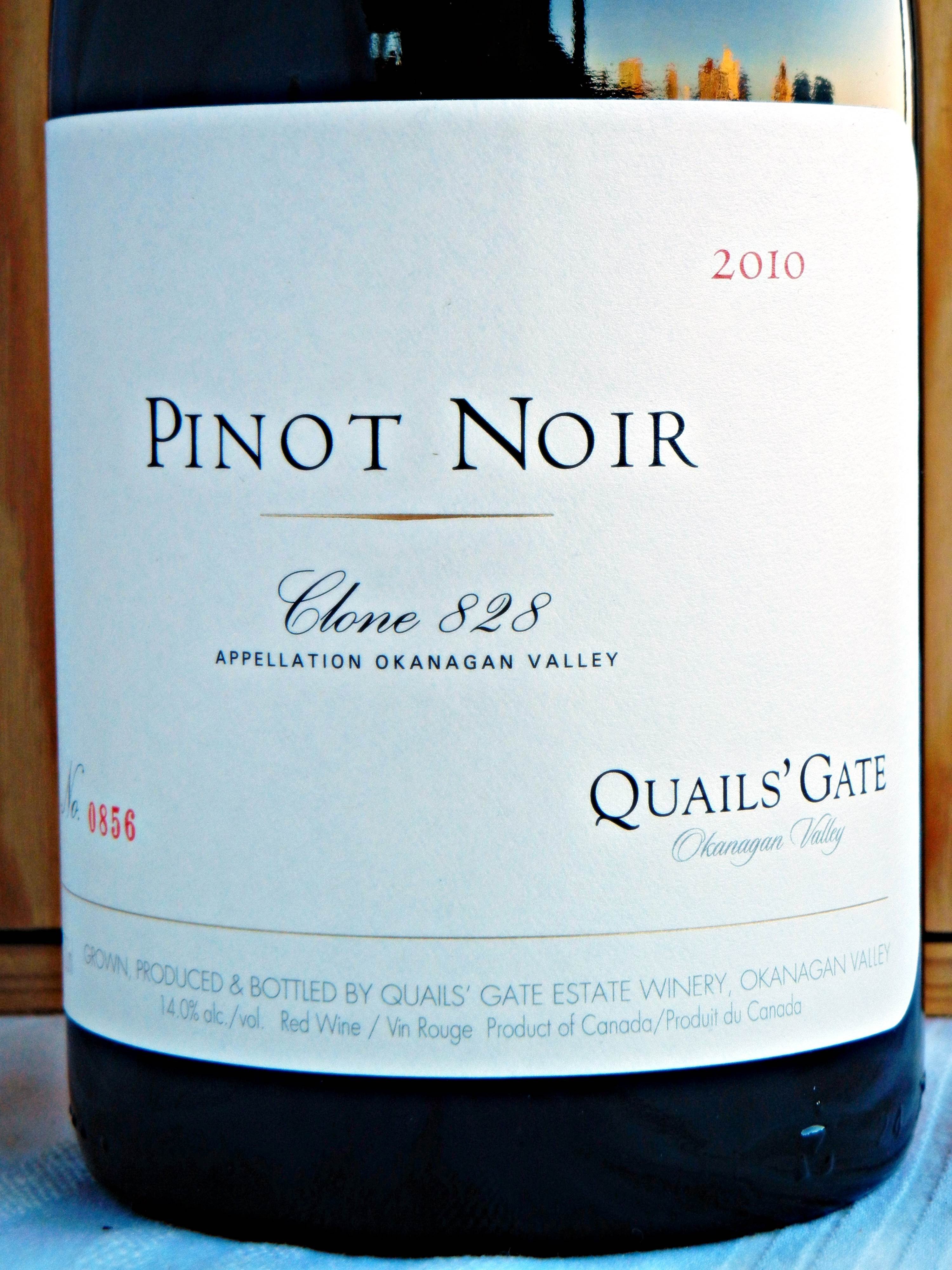 Quails' Gate Clone 828 Pinot Noir 2010 Label - BC Pinot Noir Tasting Review 10