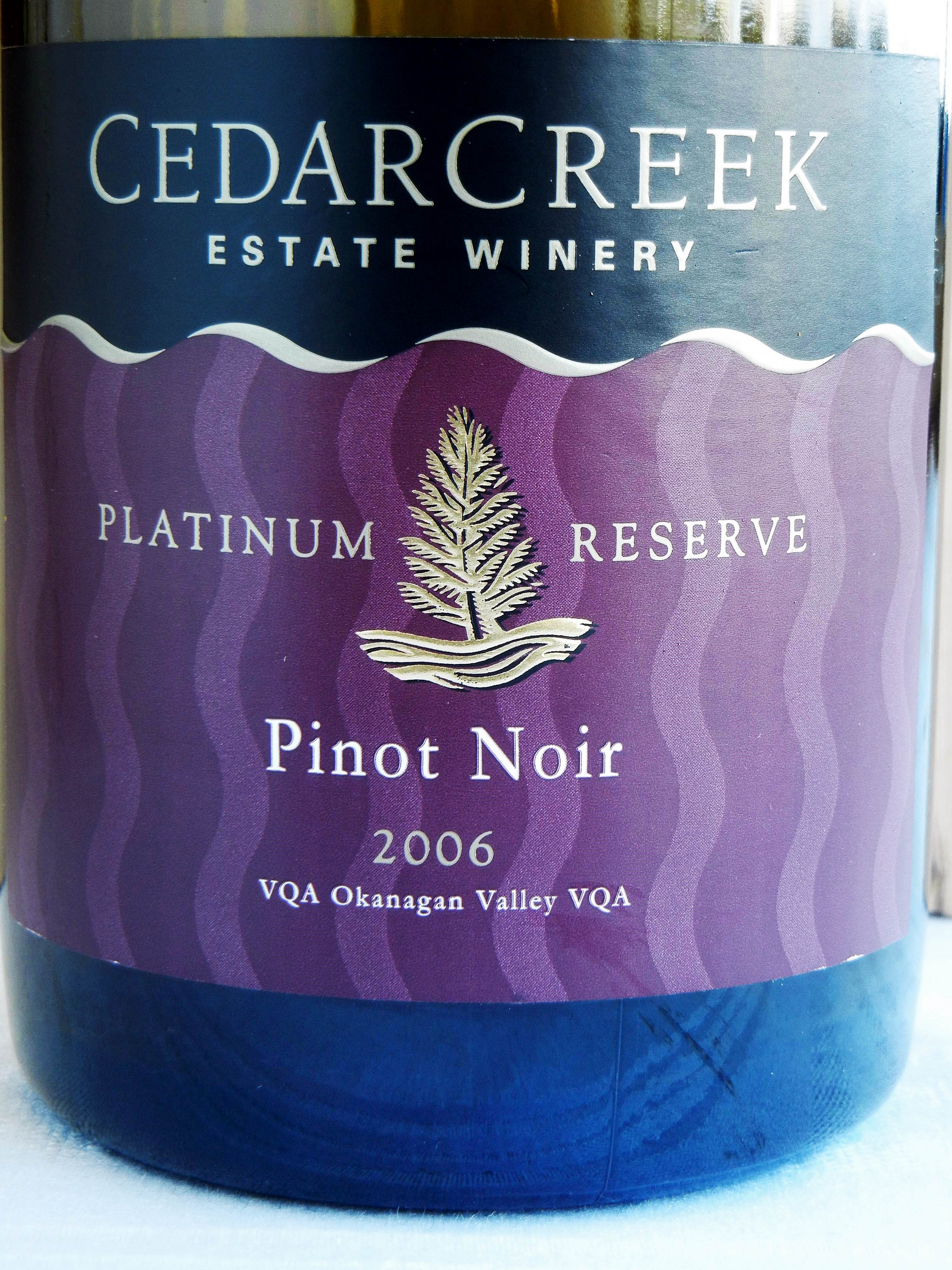 Cedar Creek Platinum Reserve Pinot Noir 2006 Label - BC Pinot Noir Tasting Review 12