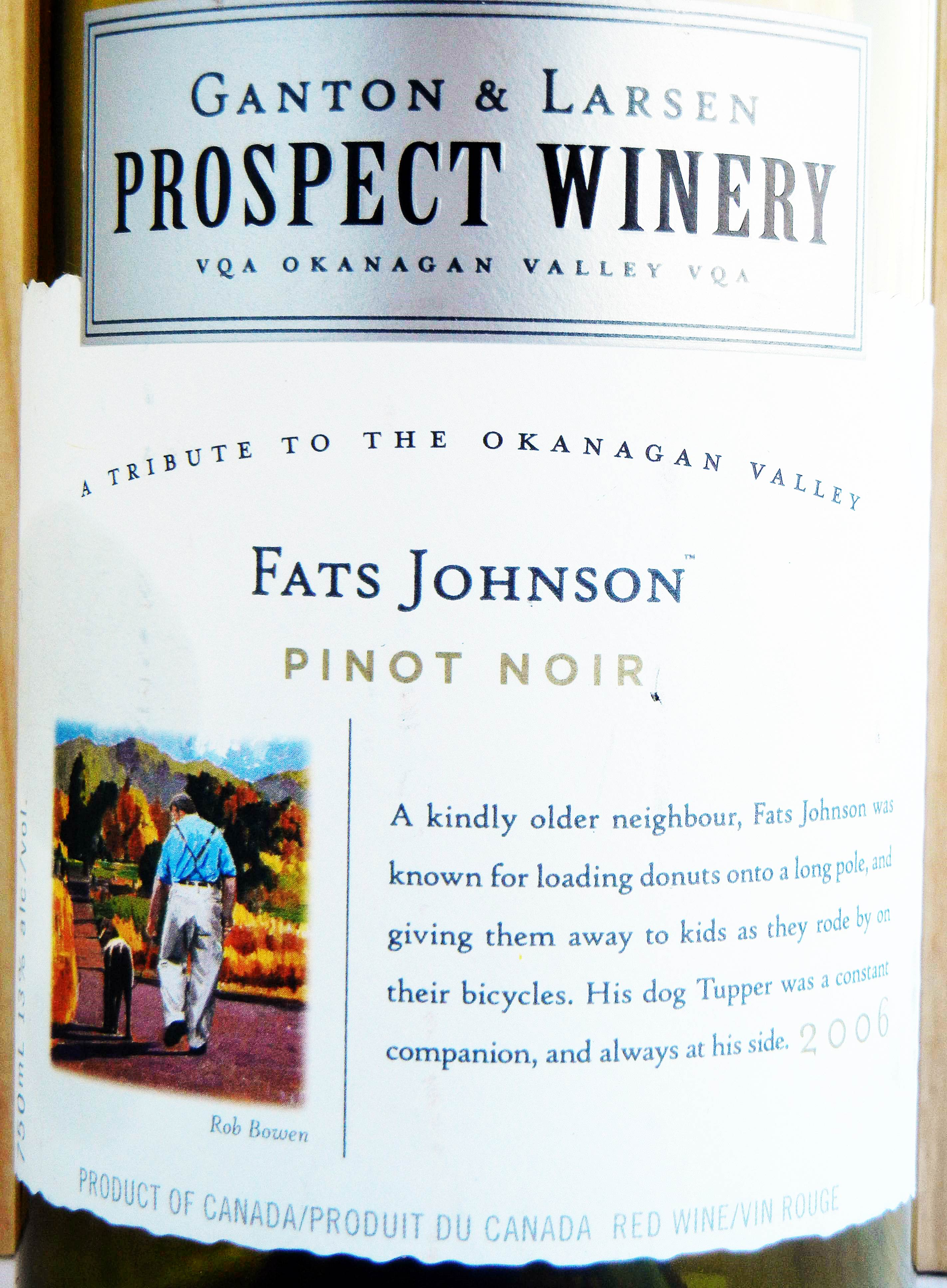 Prospect Winery Fats Johnson Pinot Noir 2006 Label - BC Pinot Noir Tasting Review 12