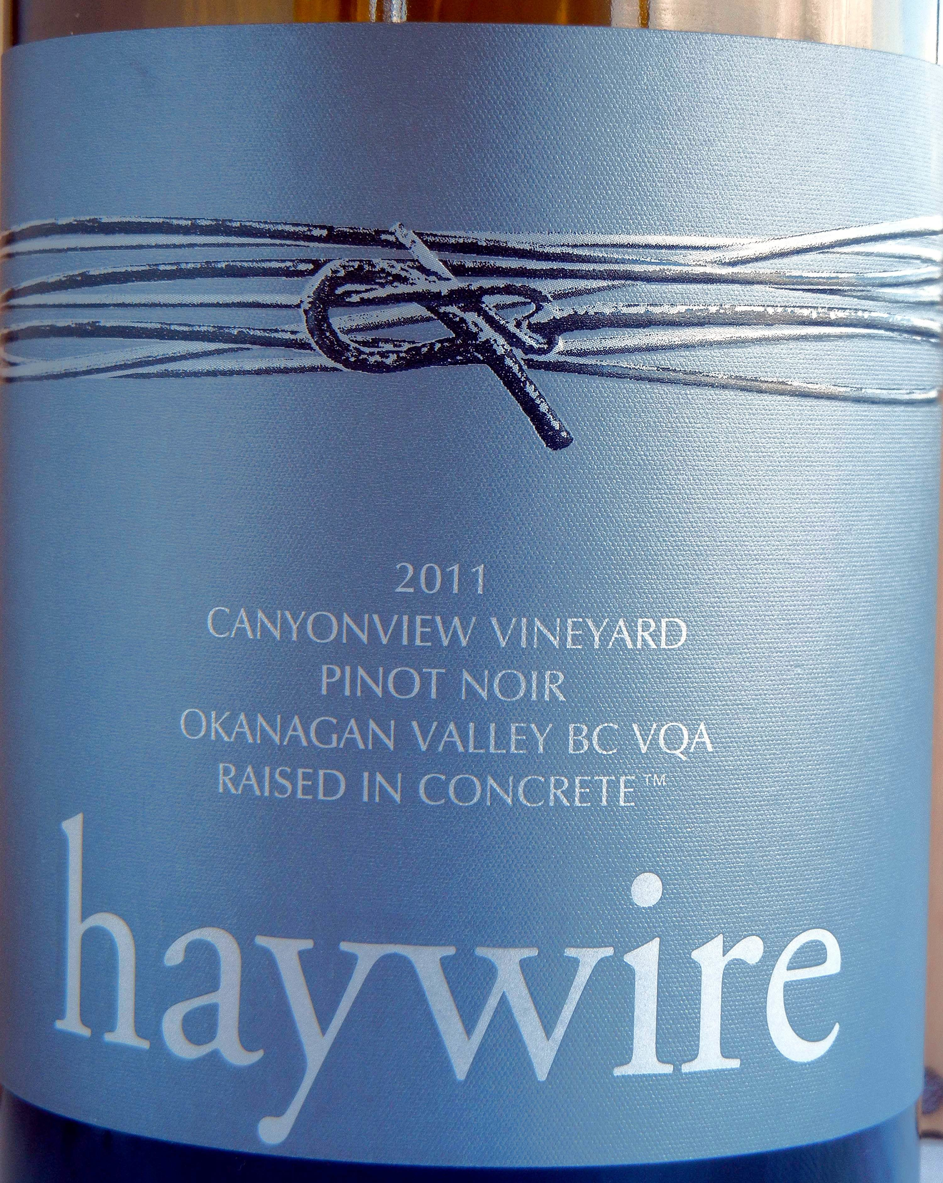 Haywire Canyonview Pinot Noir 2011 Label - BC Pinot Noir Tasting Review 13