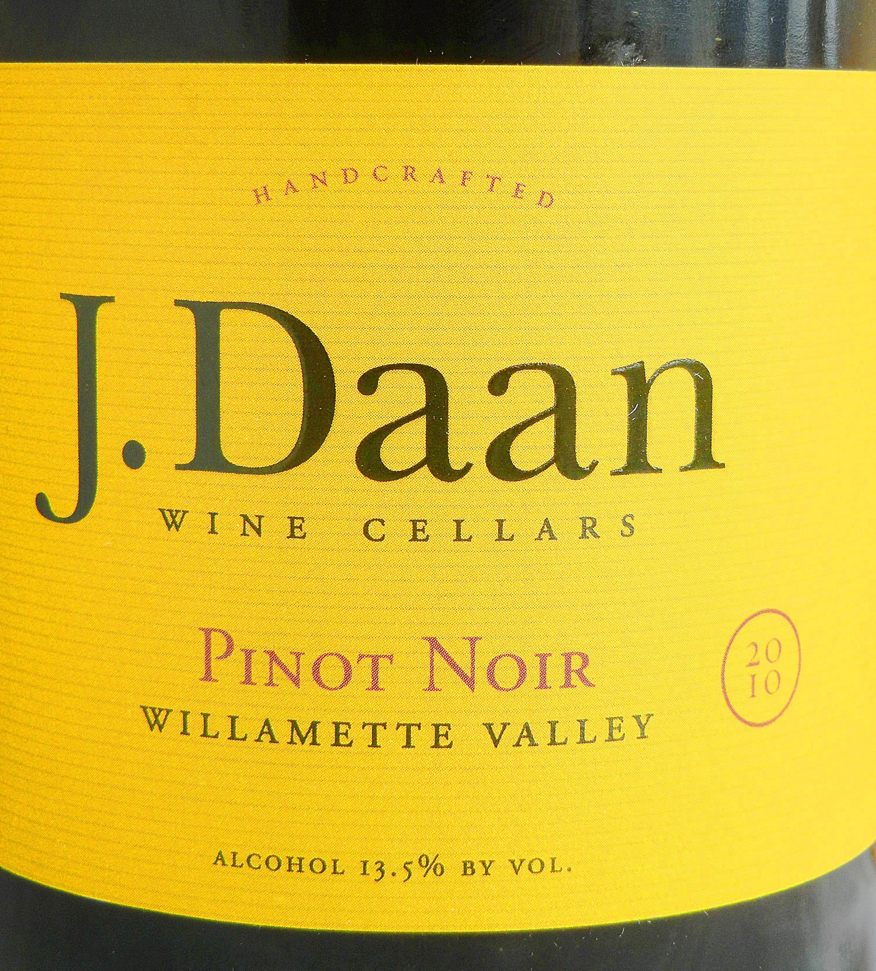 J. Daan Willamette Valley Pinot Noir 2010 Label - BC Pinot Noir Tasting Review 14