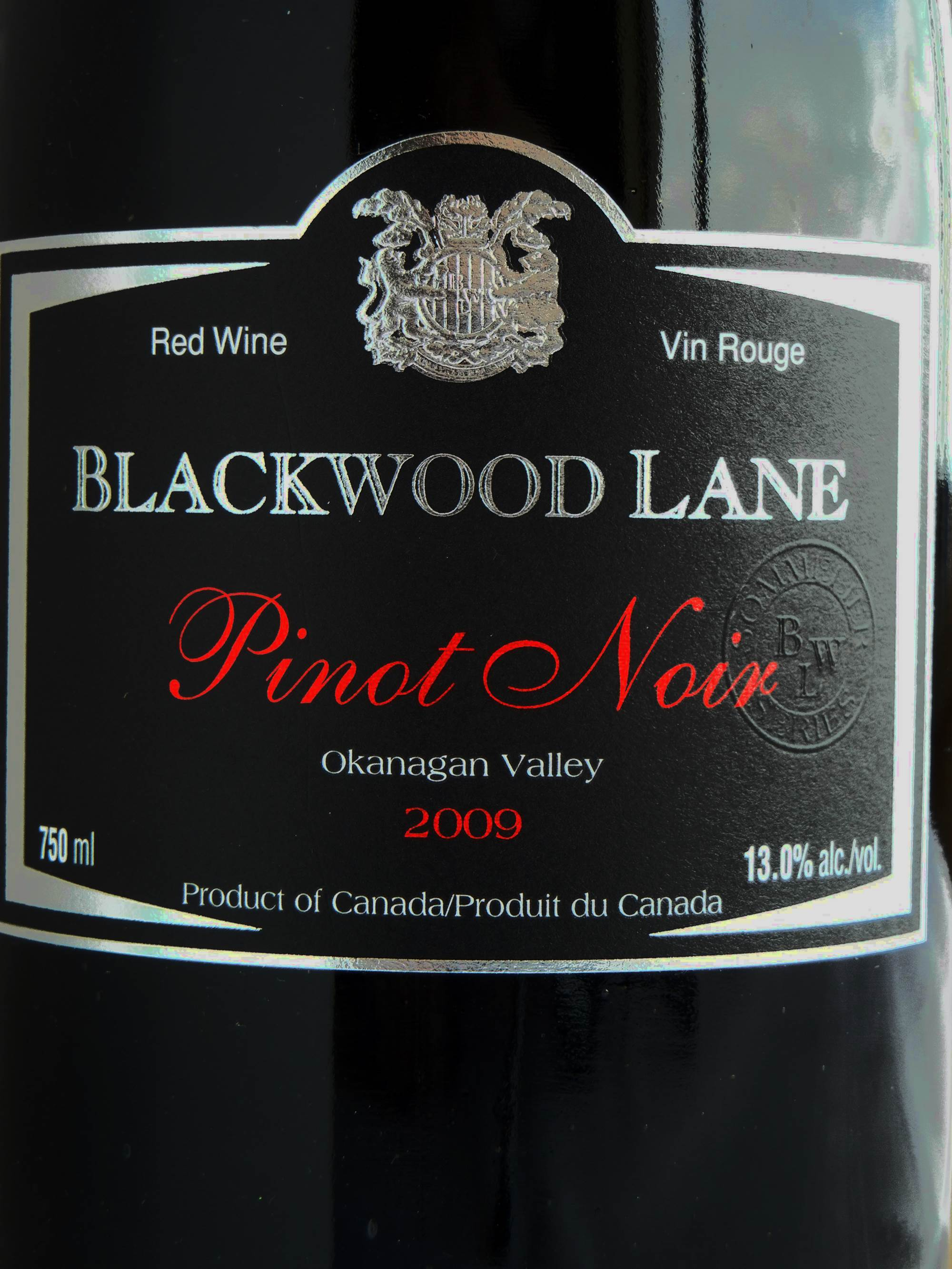 Blackwood Lane Pinot Noir 2009 Label - BC Pinot Noir Tasting Review 15