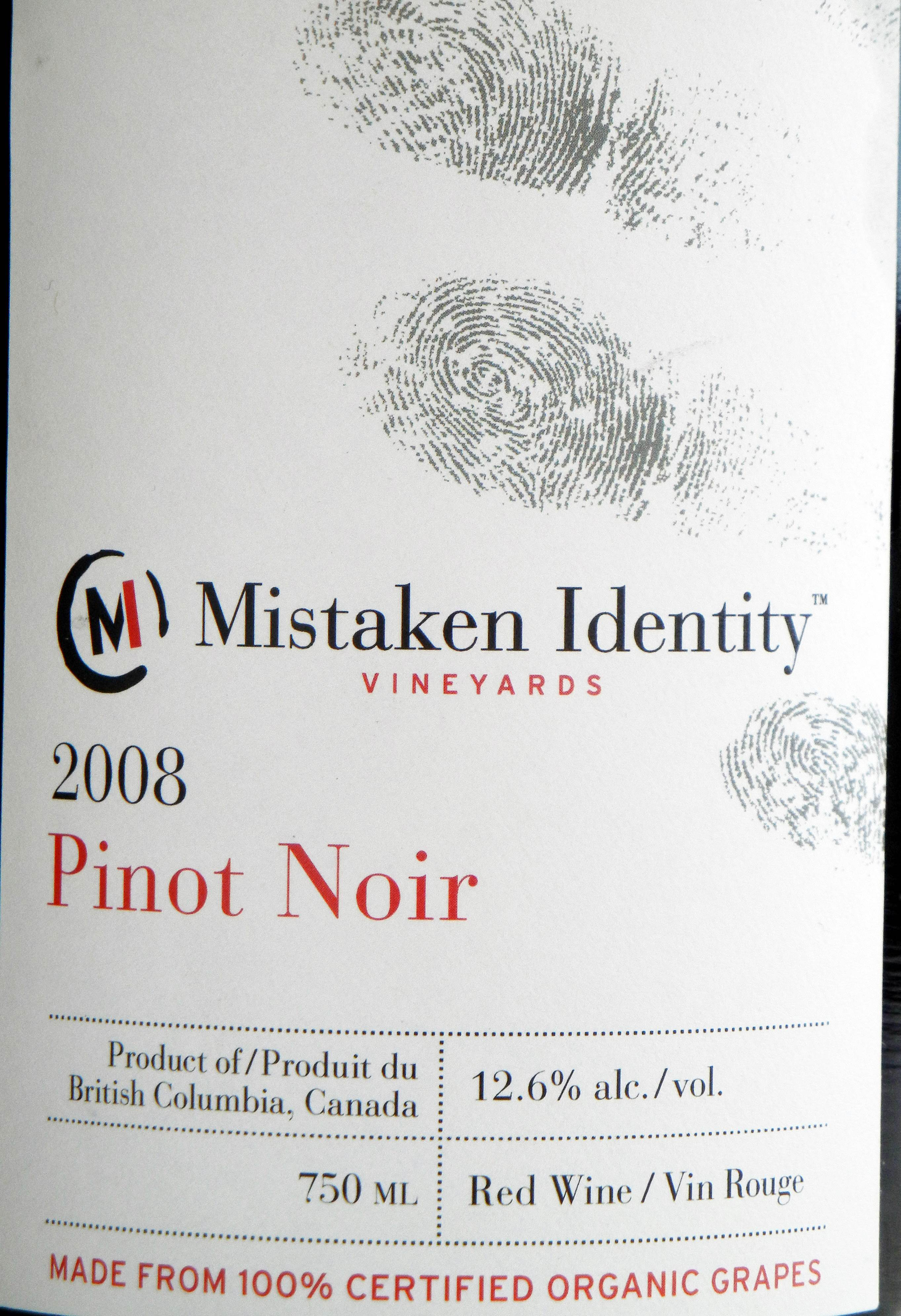 Mistaken Identity Pinot Noir 2008 Label - BC Pinot Noir Tasting Review 16
