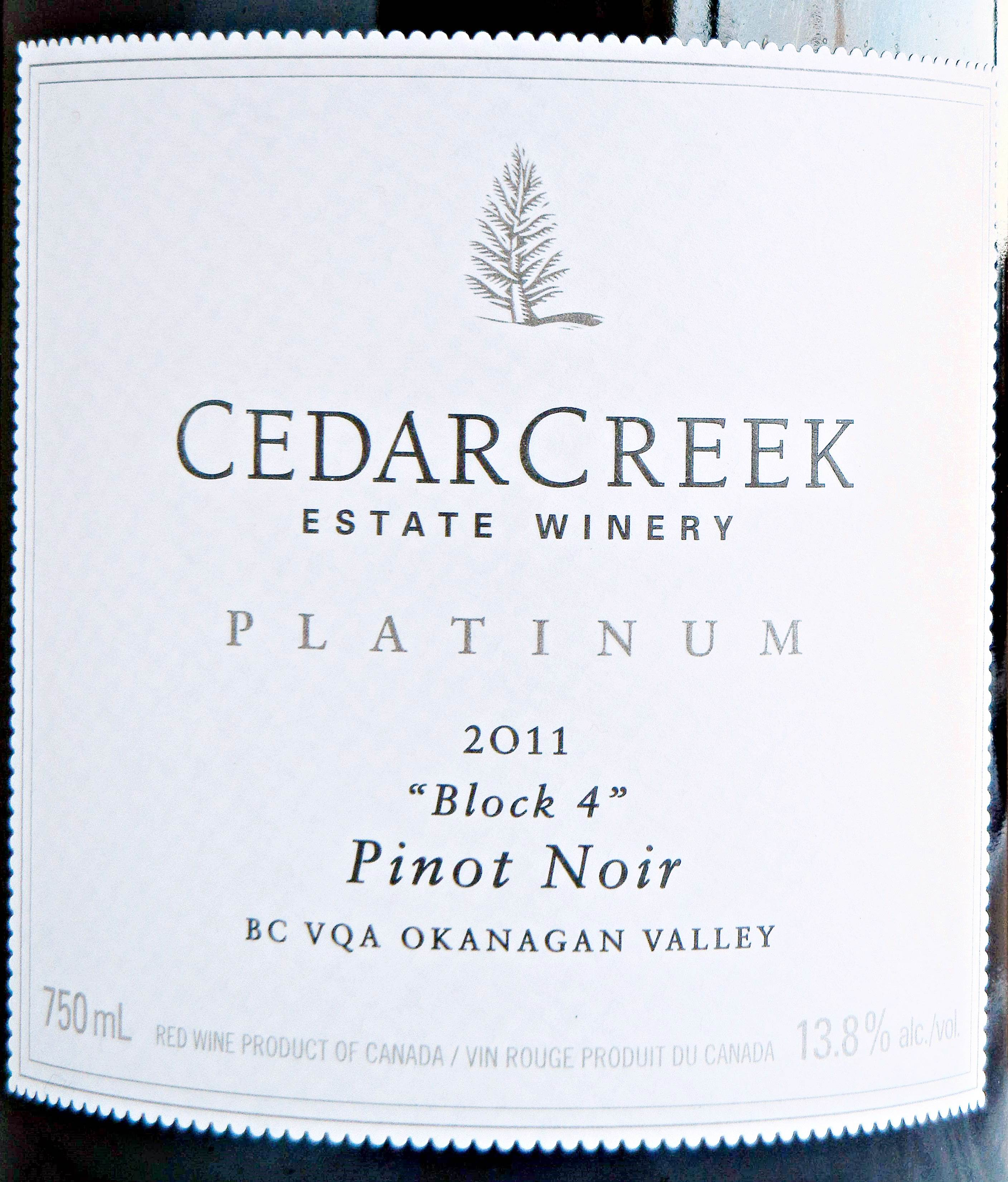 Cedar Creek Platinum Block 4 Pinot Noir 2011 Label - BC Pinot Noir Tasting Review 17