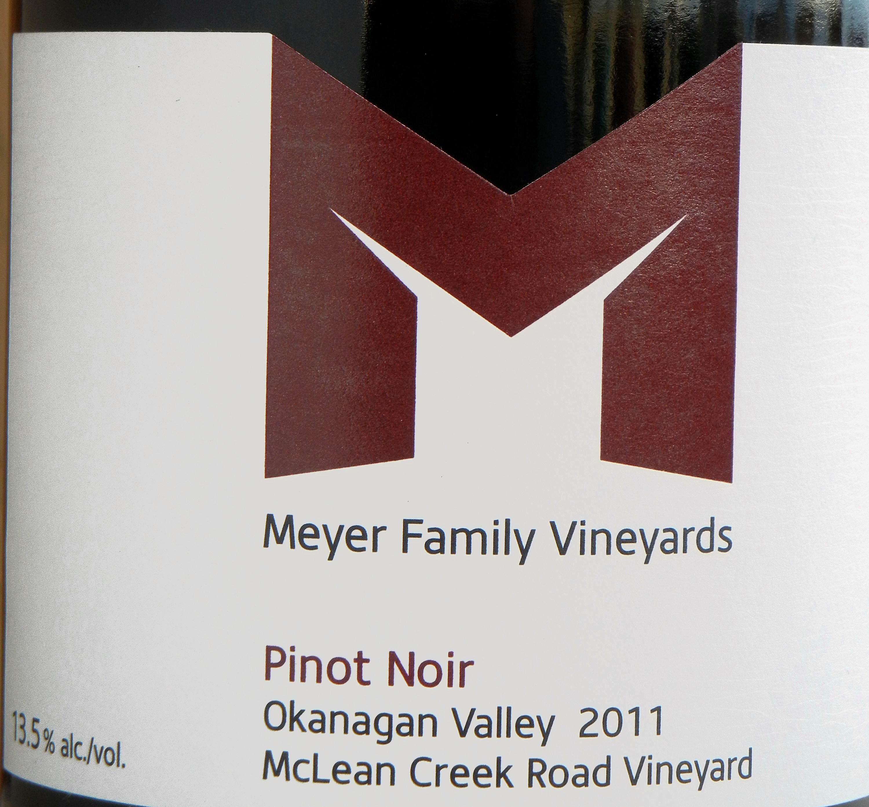 Meyer Family Vineyards McLean Creek Pinot Noir 2011 Label - BC Pinot Noir Tasting Review 17