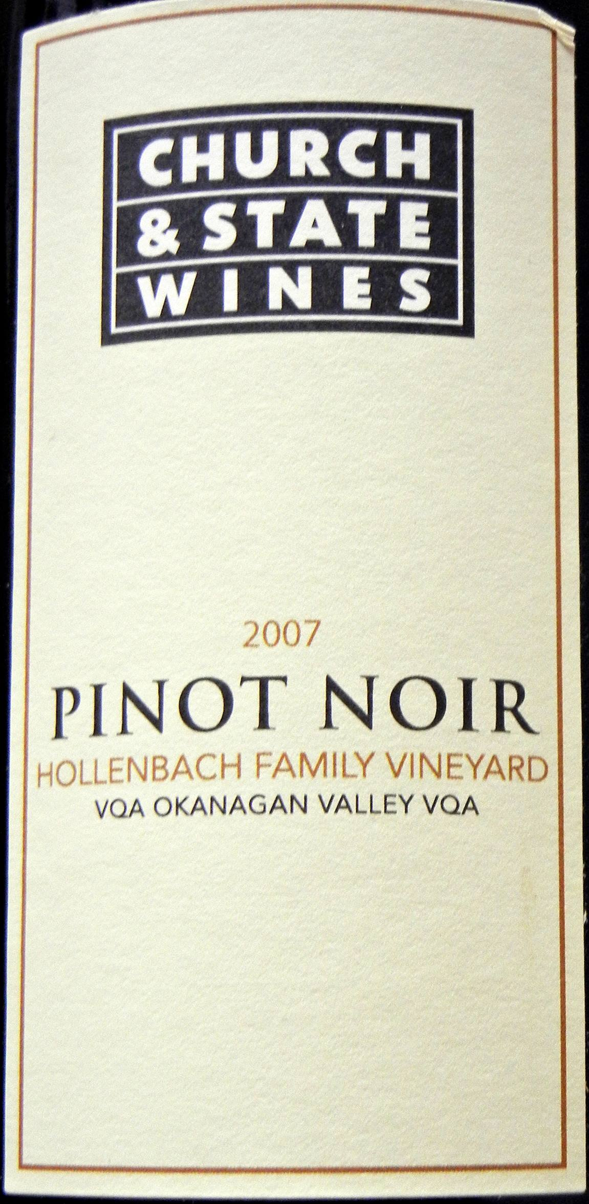 Church & State Hollenbach Pinot Noir 2007 Label - BC Pinot Noir Tasting Review 2