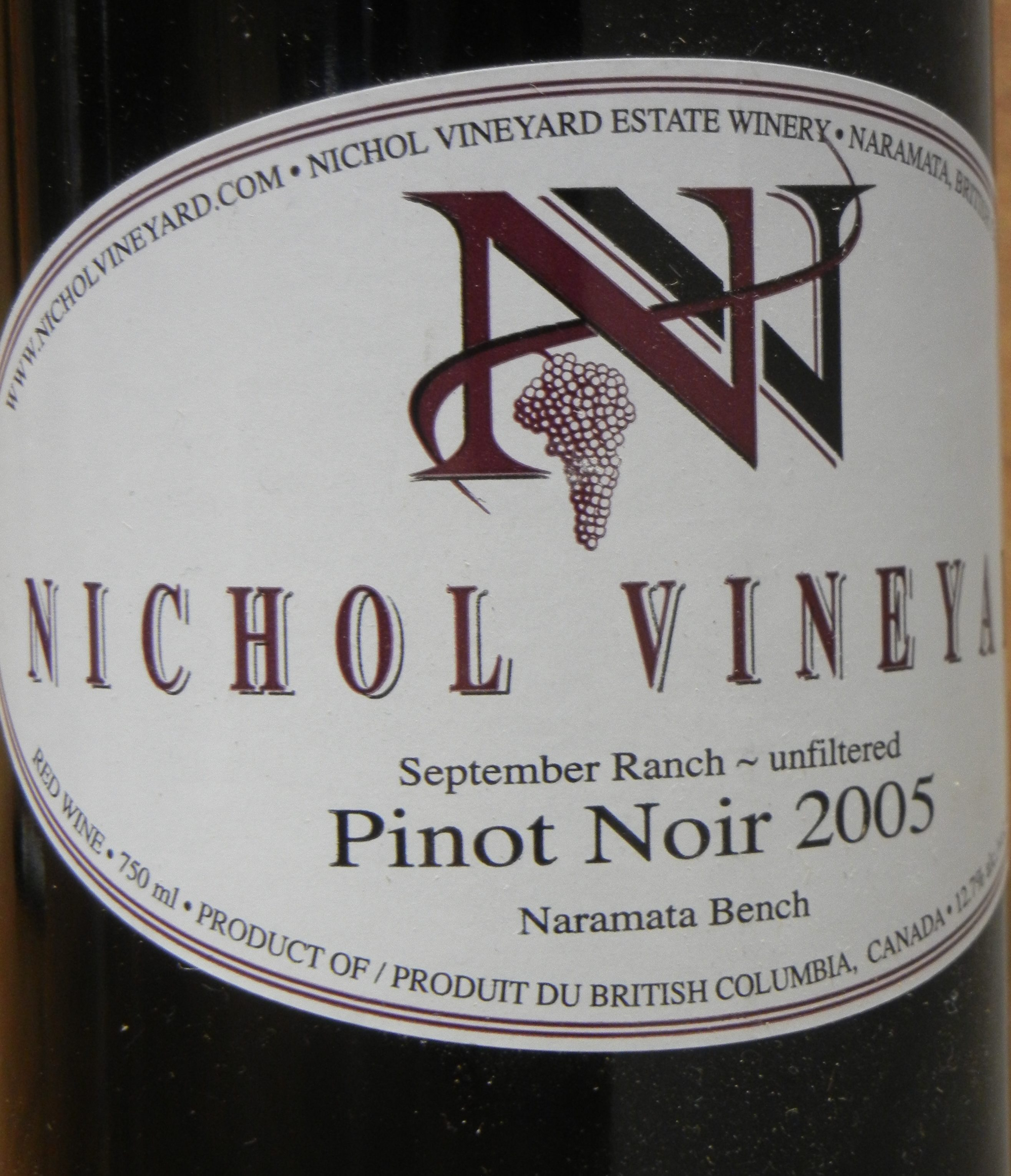 Nichol Vineyard Pinot Noir 2005 Label - BC Pinot Noir Tasting Review 3