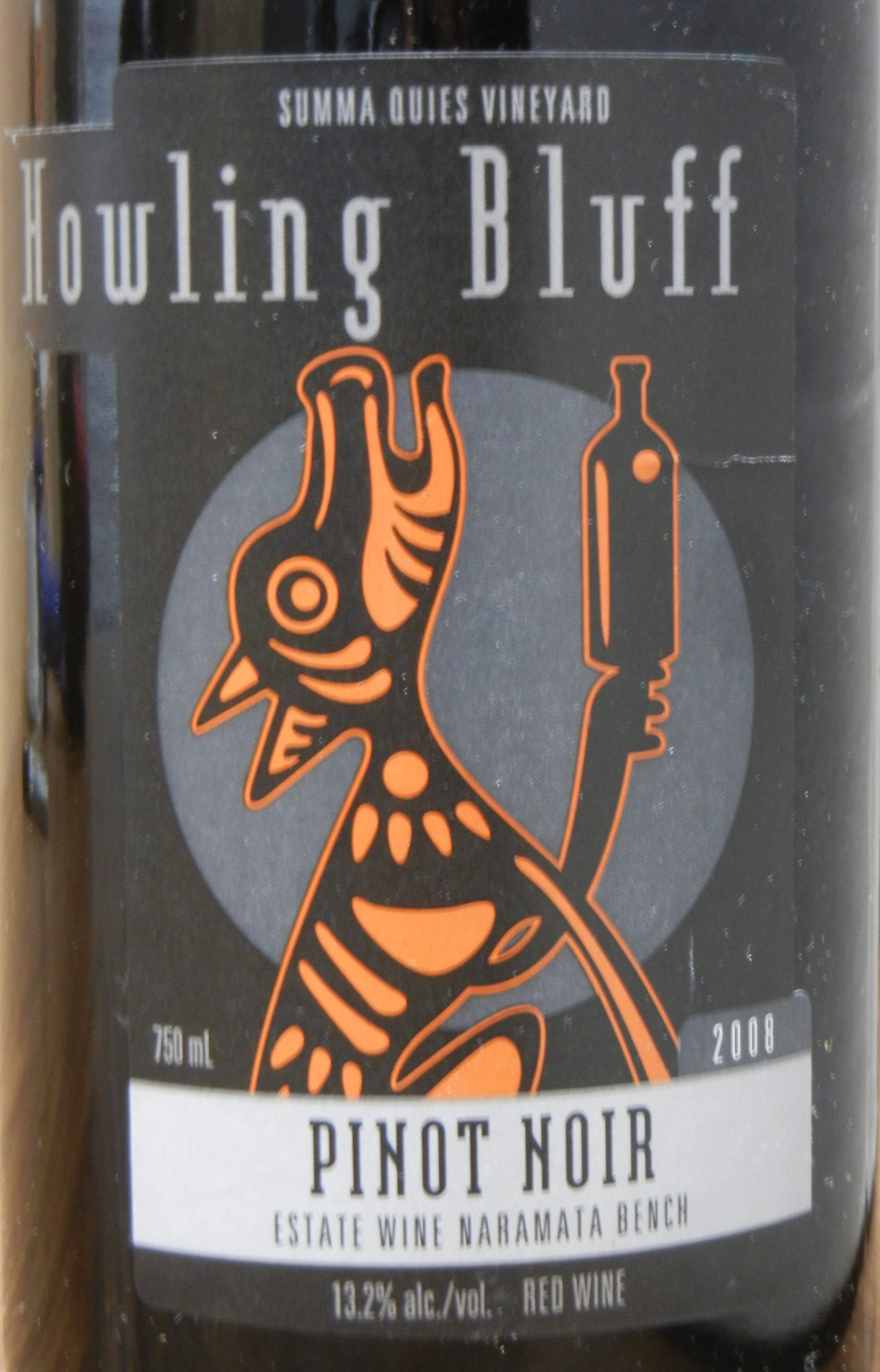 Howling Bluff Summa Quies Pinot Noir 2008 Label - BC Pinot Noir Tasting Review 4