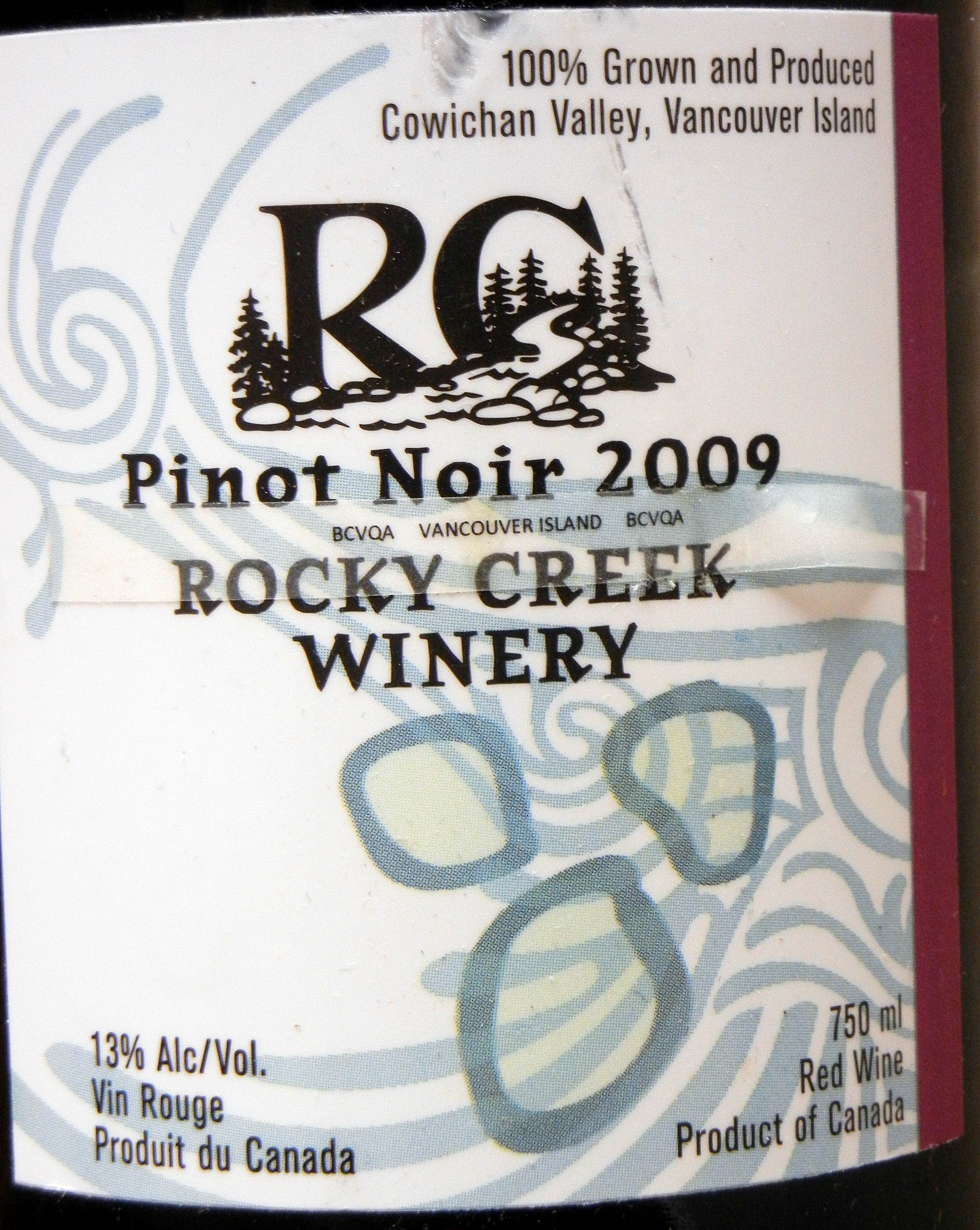 Rocky Creek Pinot Noir 2009 Label - BC Pinot Noir Tasting Review 9
