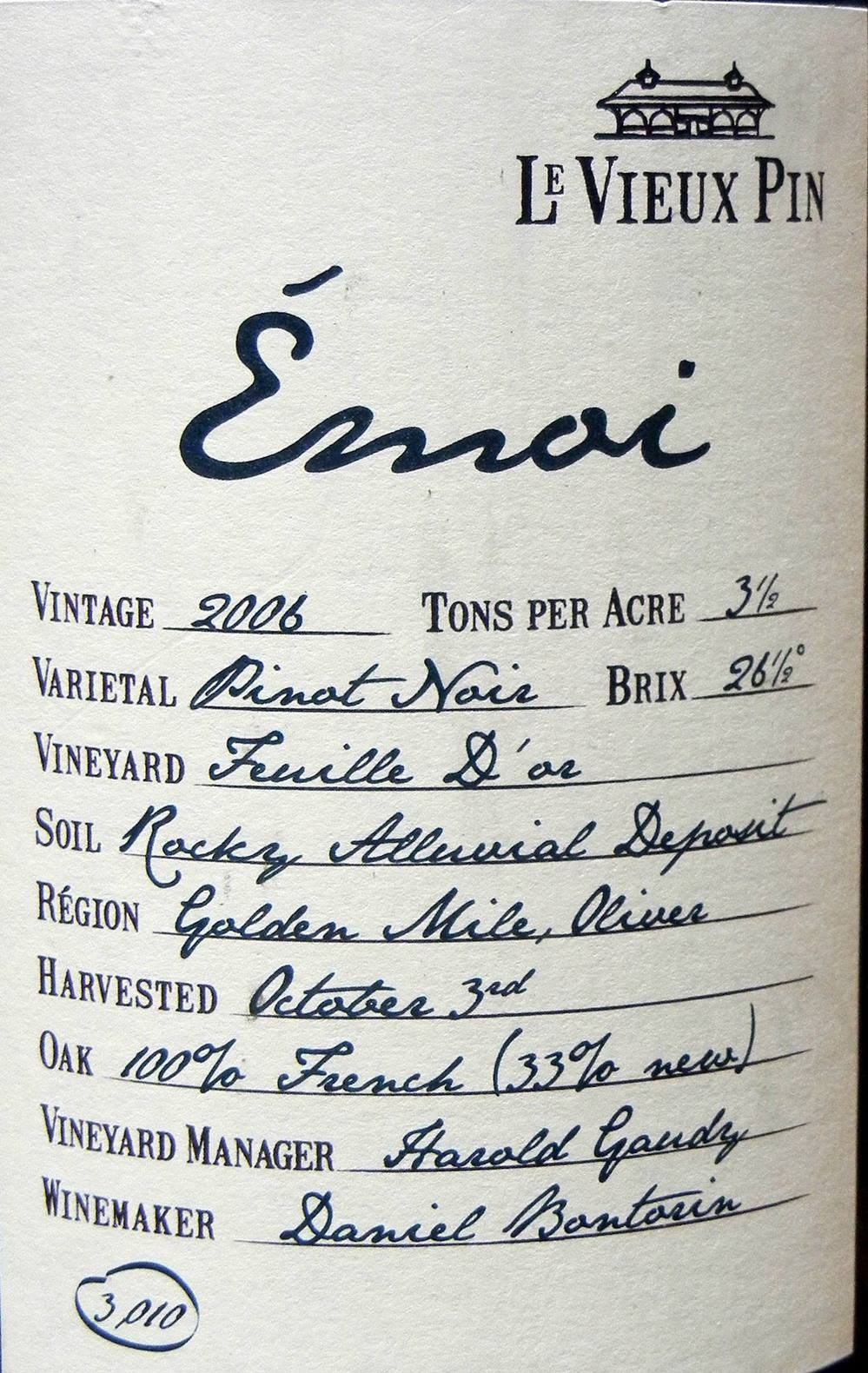 Le Vieux Pin Emoi Pinot Noir 2006 Label - BC Pinot Noir Tasting Review 1