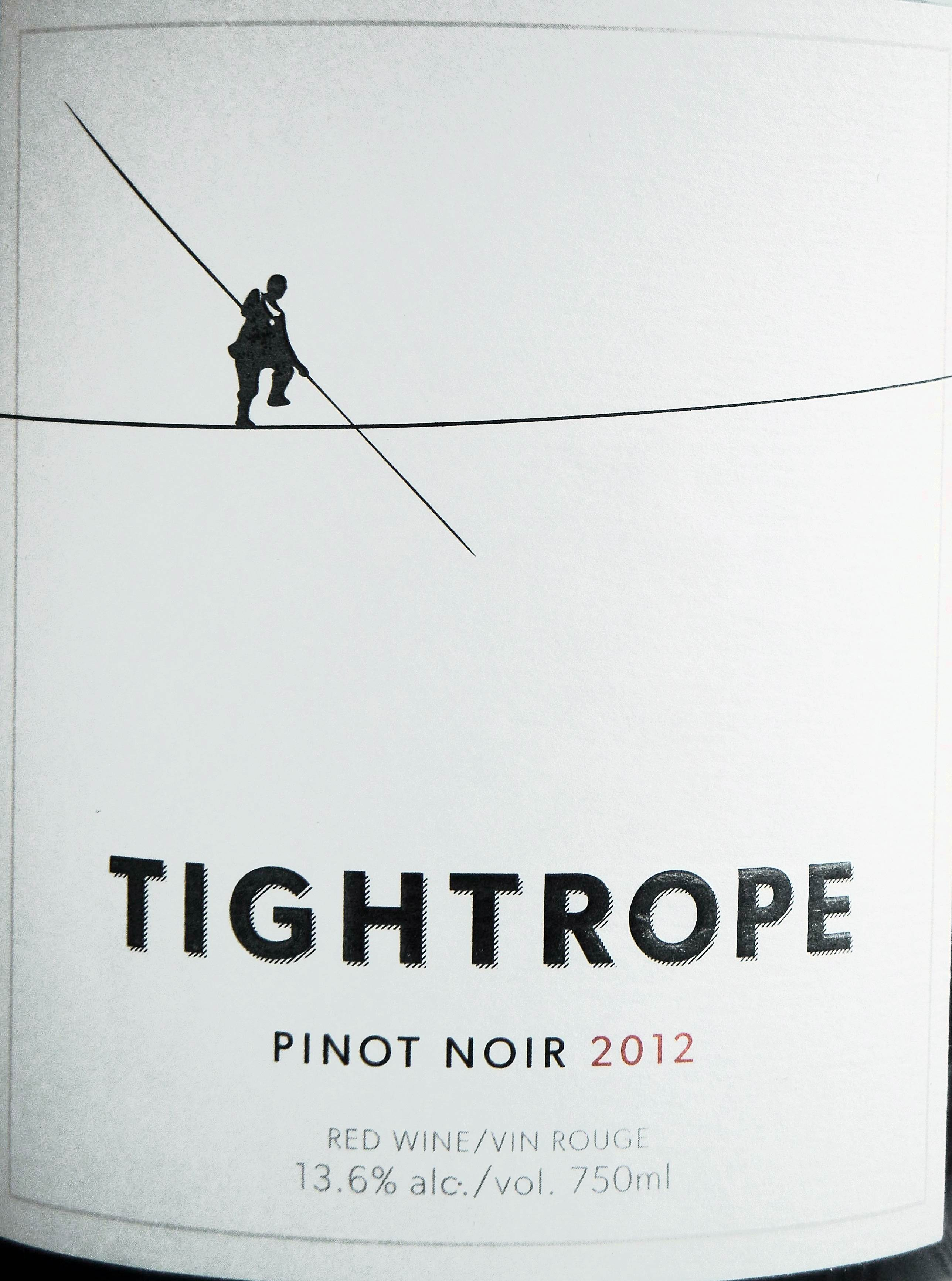 Tightrope Pinot Noir 2012 Label - BC Pinot Noir Tasting Review 19