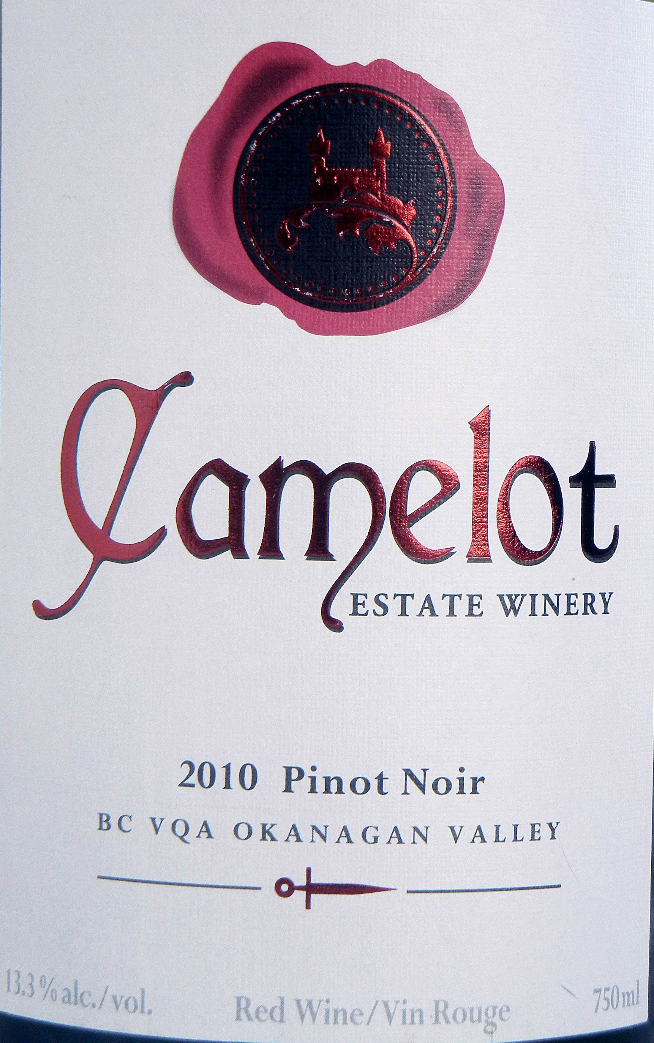 Camelot Pinot Noir 2010 Label - BC Pinot Noir Tasting Review 20