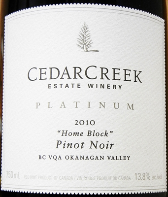 Cedar Creek Platinum Home Block Pinot Noir 2010 Label - BC Pinot Noir Tasting Review 20