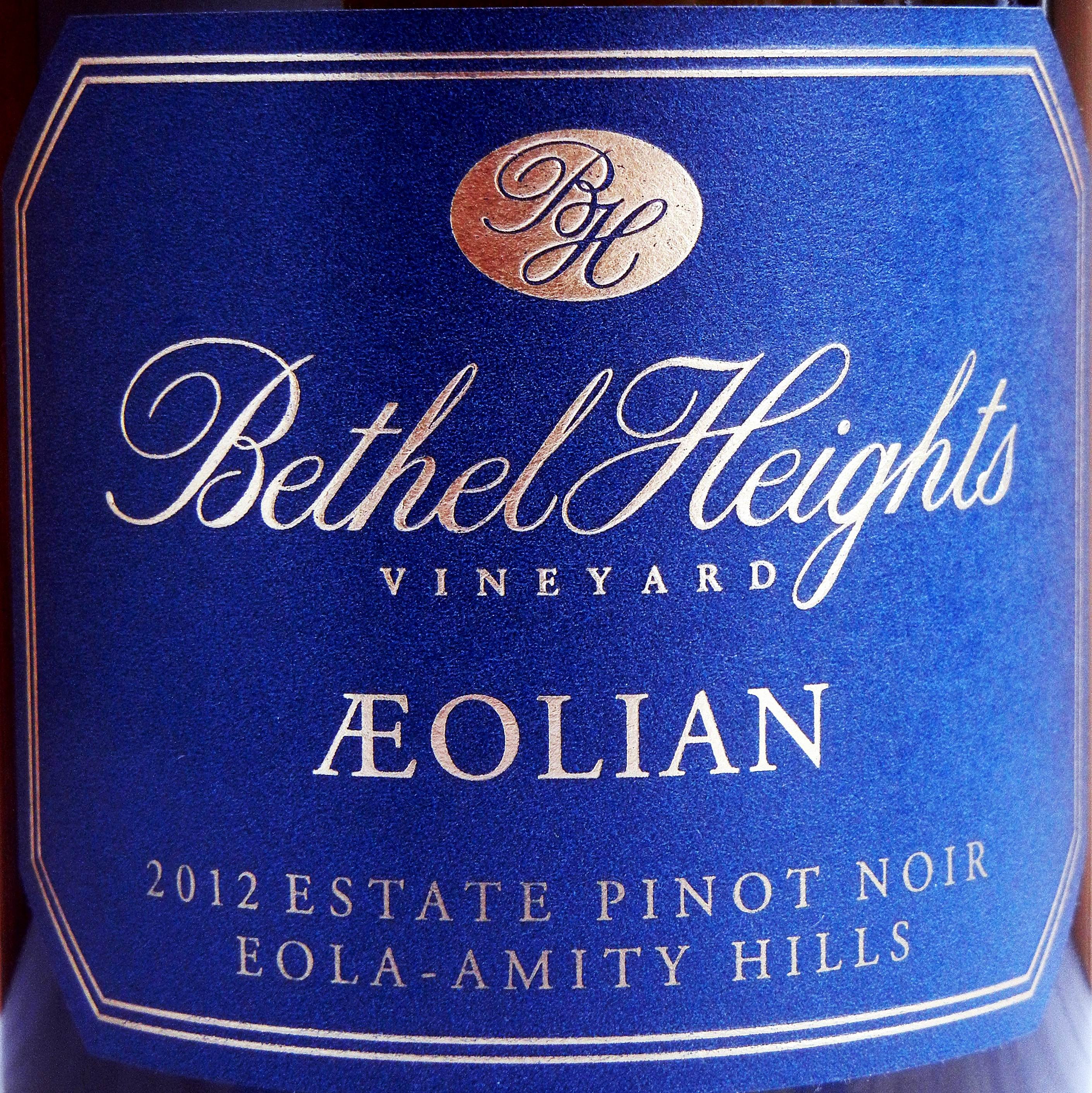 Bethel Heights Aeolian Pinot Noir 2012 Label - BC Pinot Noir Tasting Review 22