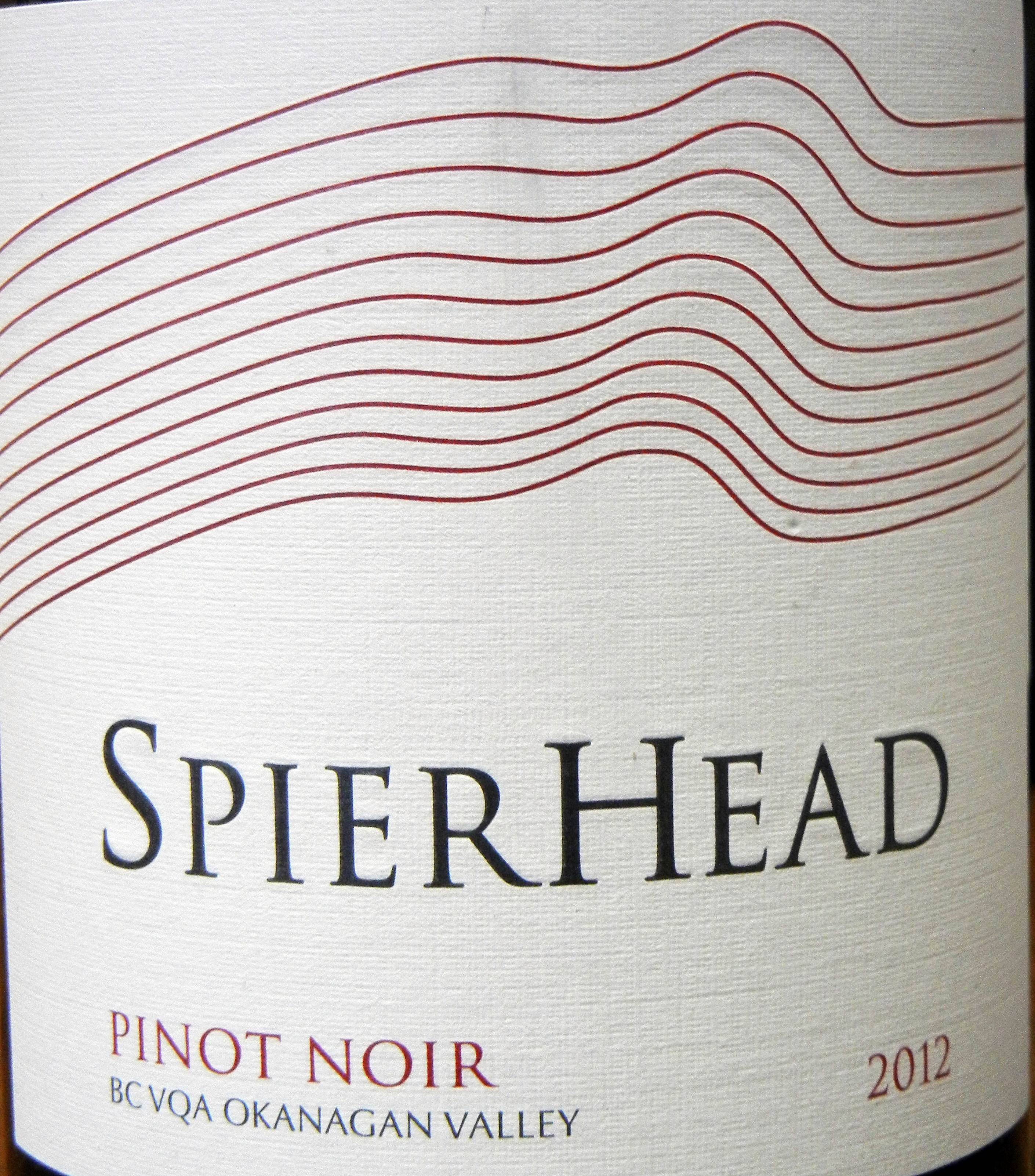 SpierHead Pinot Noir 2012 Label - BC Pinot Noir Tasting Review 22