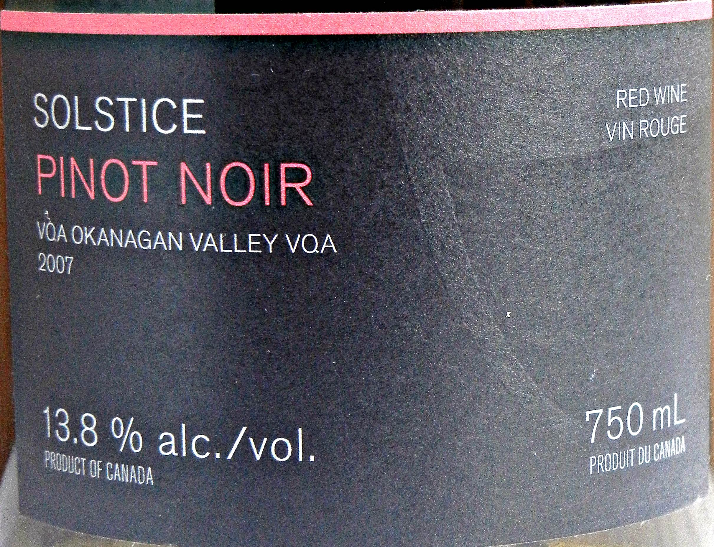 Arrowleaf Solstice Pinot Noir 2007 Label - BC Pinot Noir Tasting Review 23