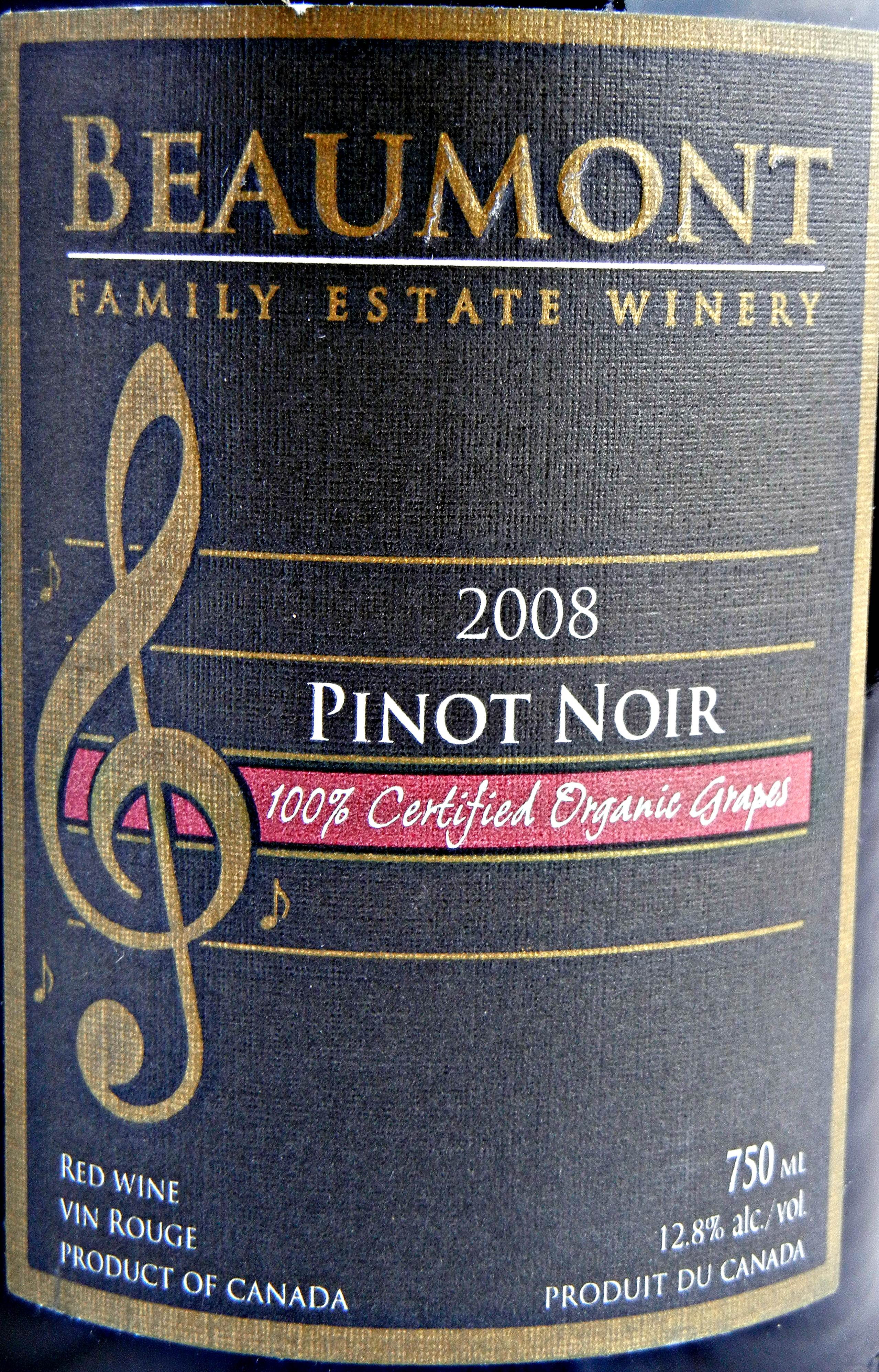 Beaumont Pinot Noir 2008 Label - BC Pinot Noir Tasting Review 23
