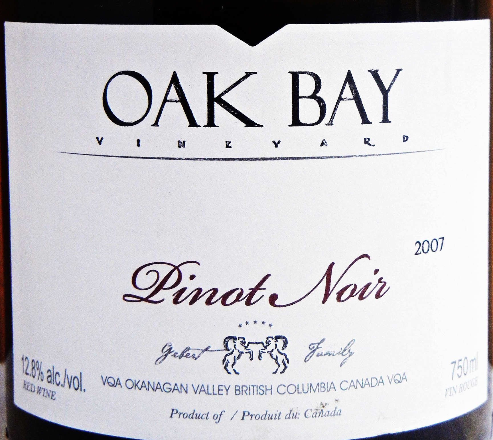 Oak Bay Reserve Pinot Noir 2007 Label - BC Pinot Noir Tasting Review 23