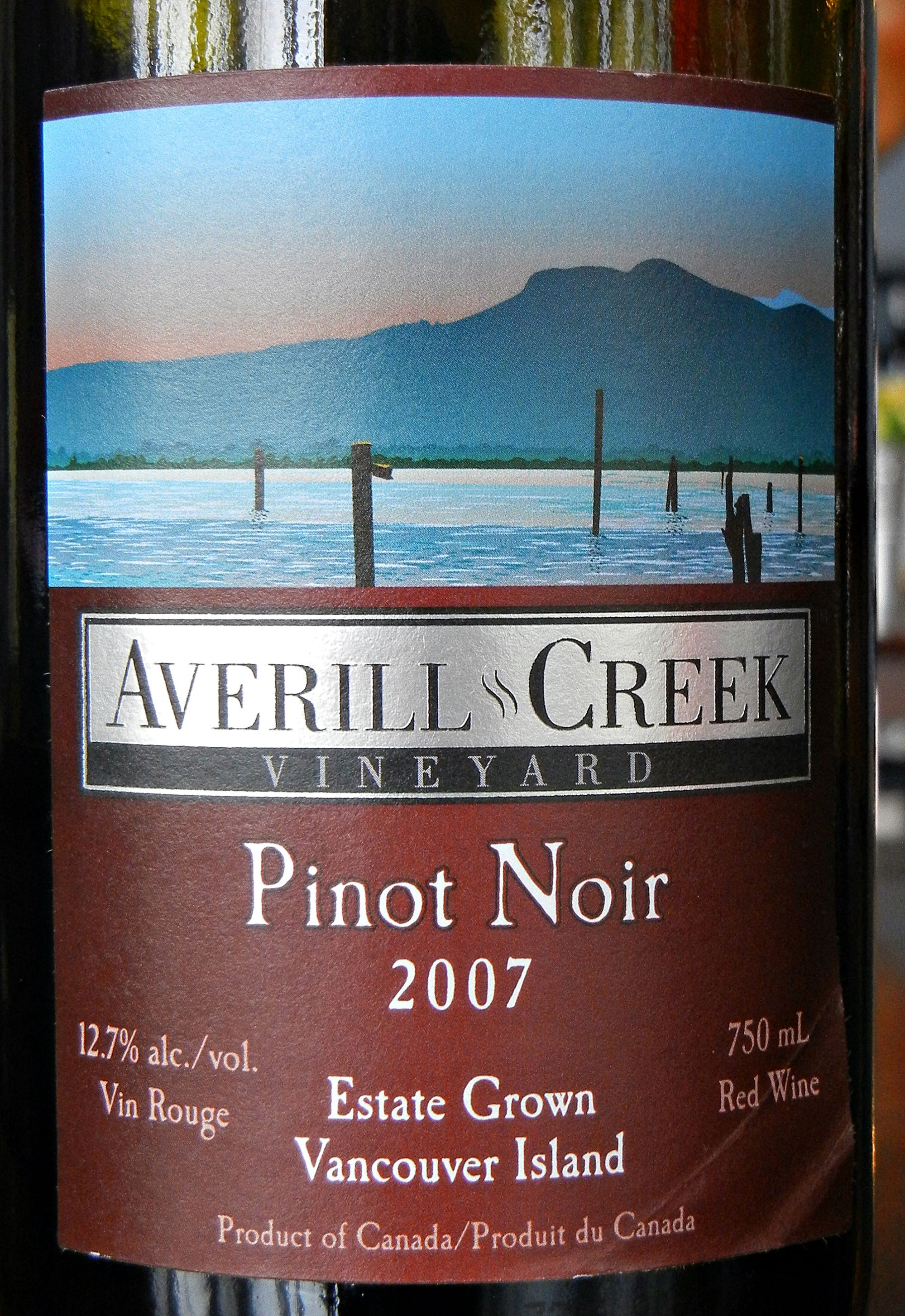 Averill Creek Pinot Noir 2007 Label - BC Pinot Noir Tasting Review 24