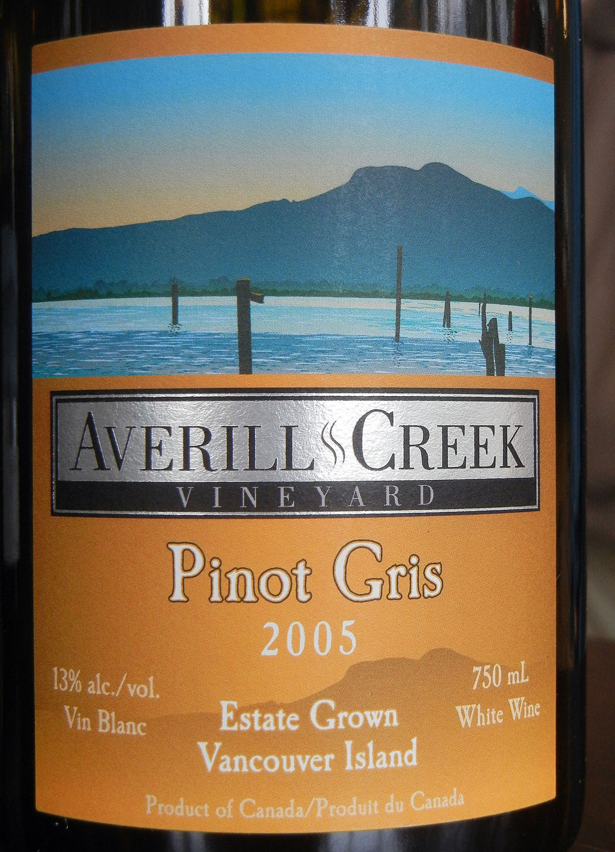 Averill Creek Pinot Gris 2005 Label - BC Pinot Noir Tasting Review 24