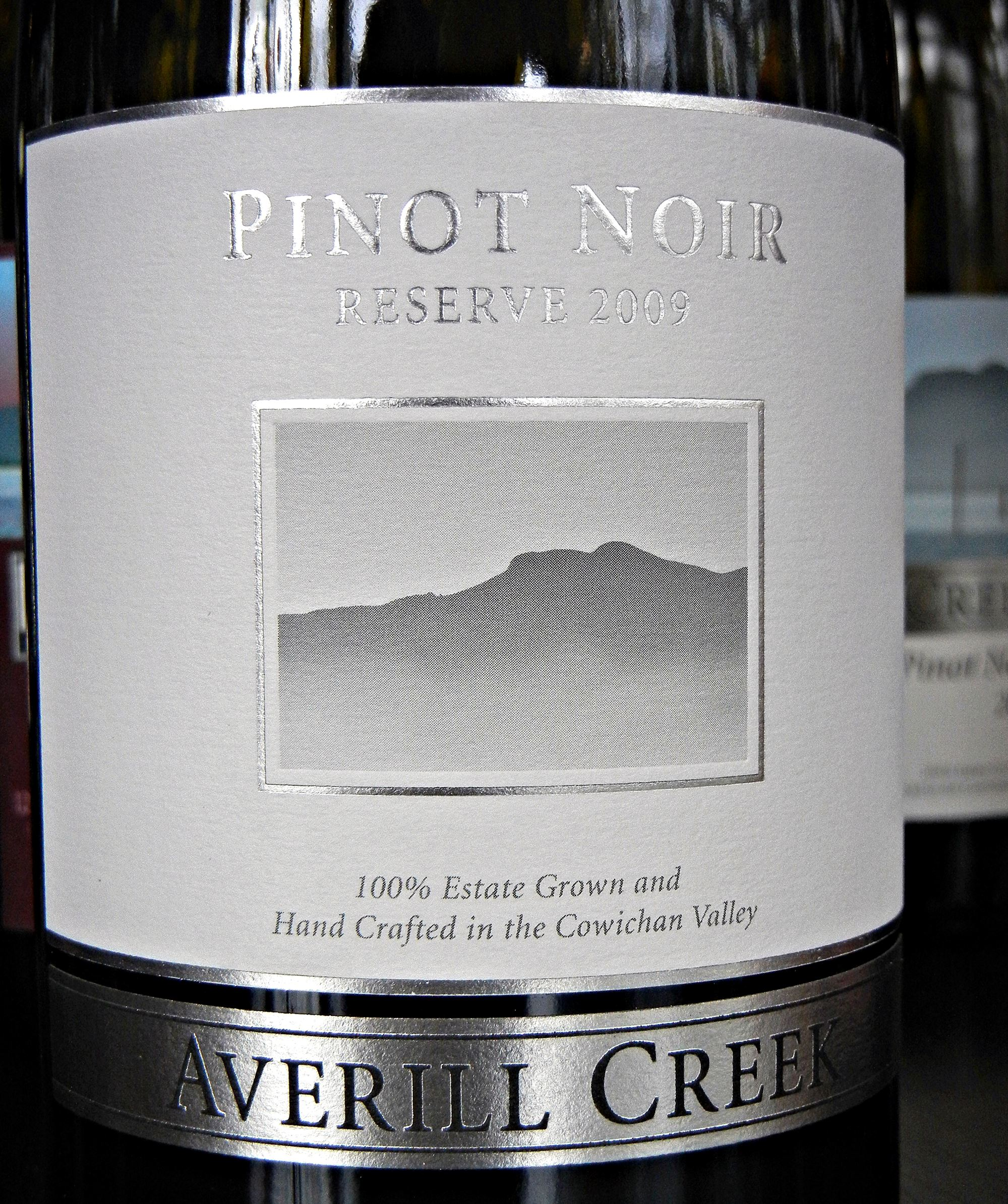 Averill Creek Pinot Noir Reserve 2009 Label - BC Pinot Noir Tasting Review 24