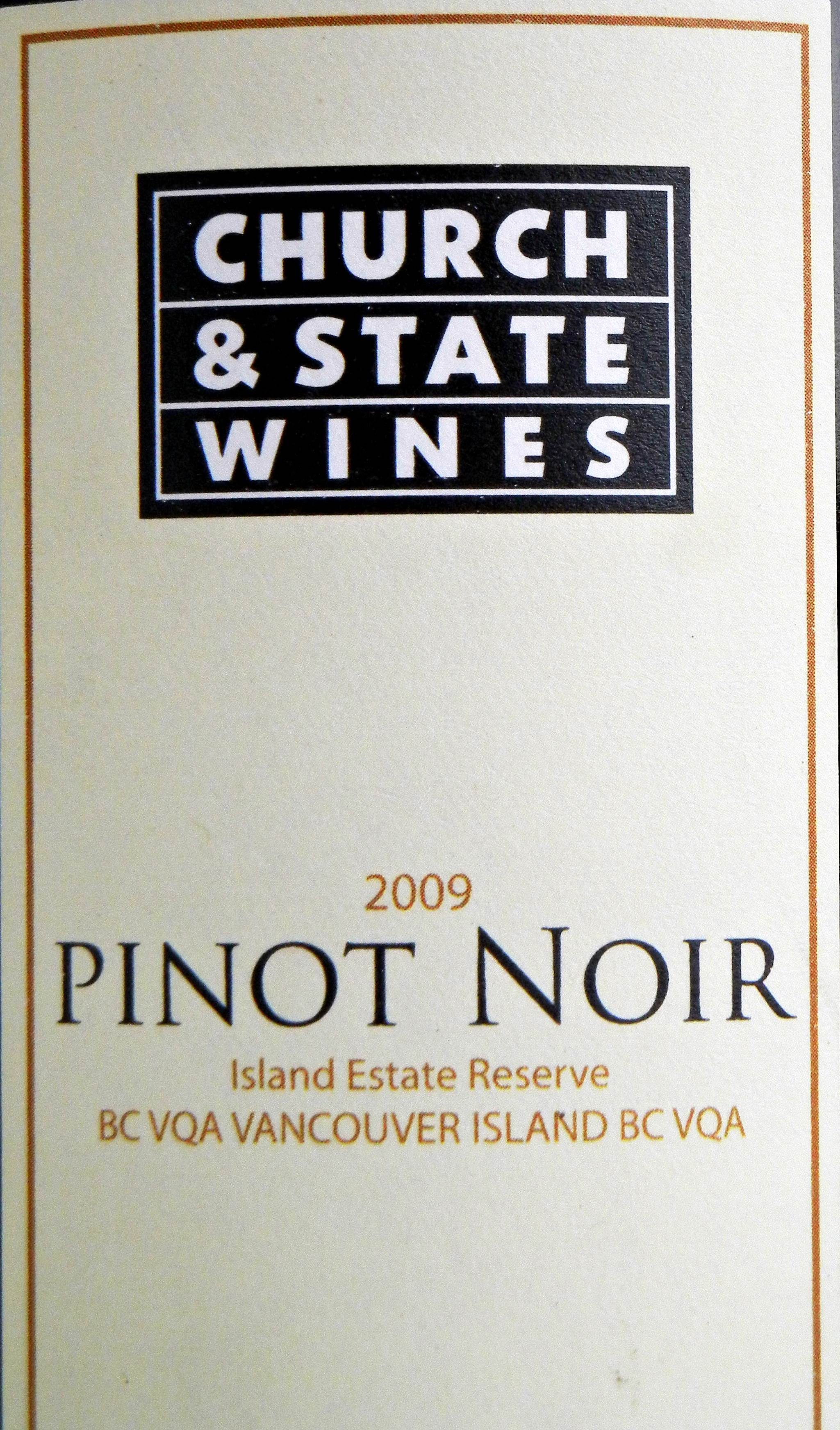 Church & State Island Estate Reserve Pinot Noir 2009 Label - BC Pinot Noir Tasting Review 26
