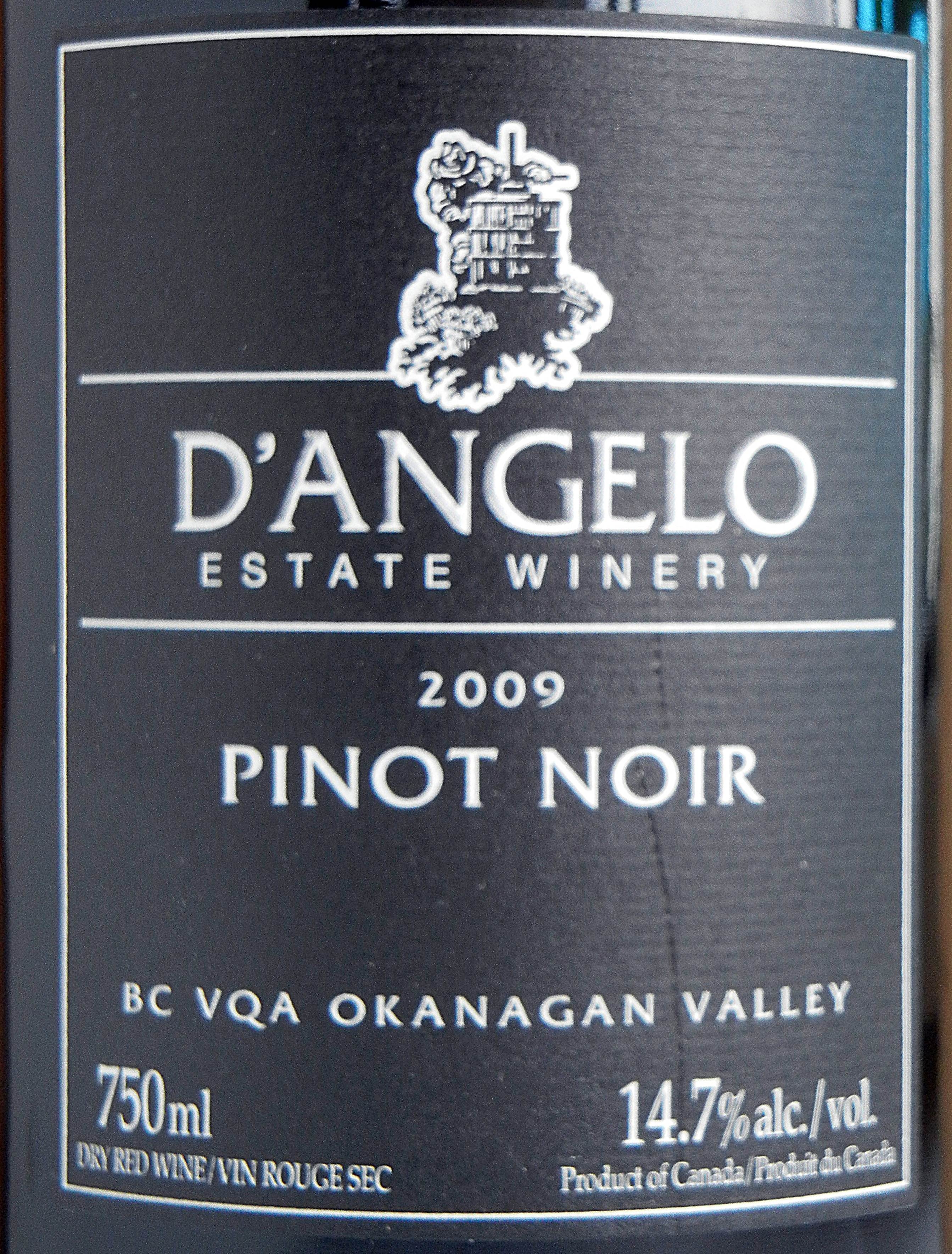 D`Angelo Pinot Noir 2009 Label - BC Pinot Noir Tasting Review 26