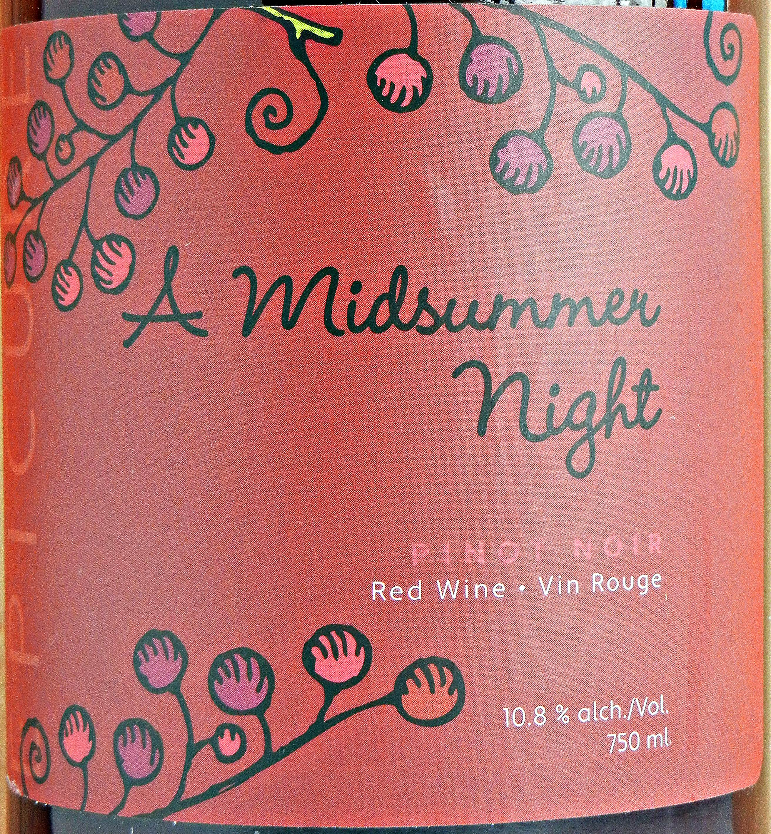 Domaine Rochette A Midsummer Night Pinot Noir 2009 Label - BC Pinot Noir Tasting Review 26