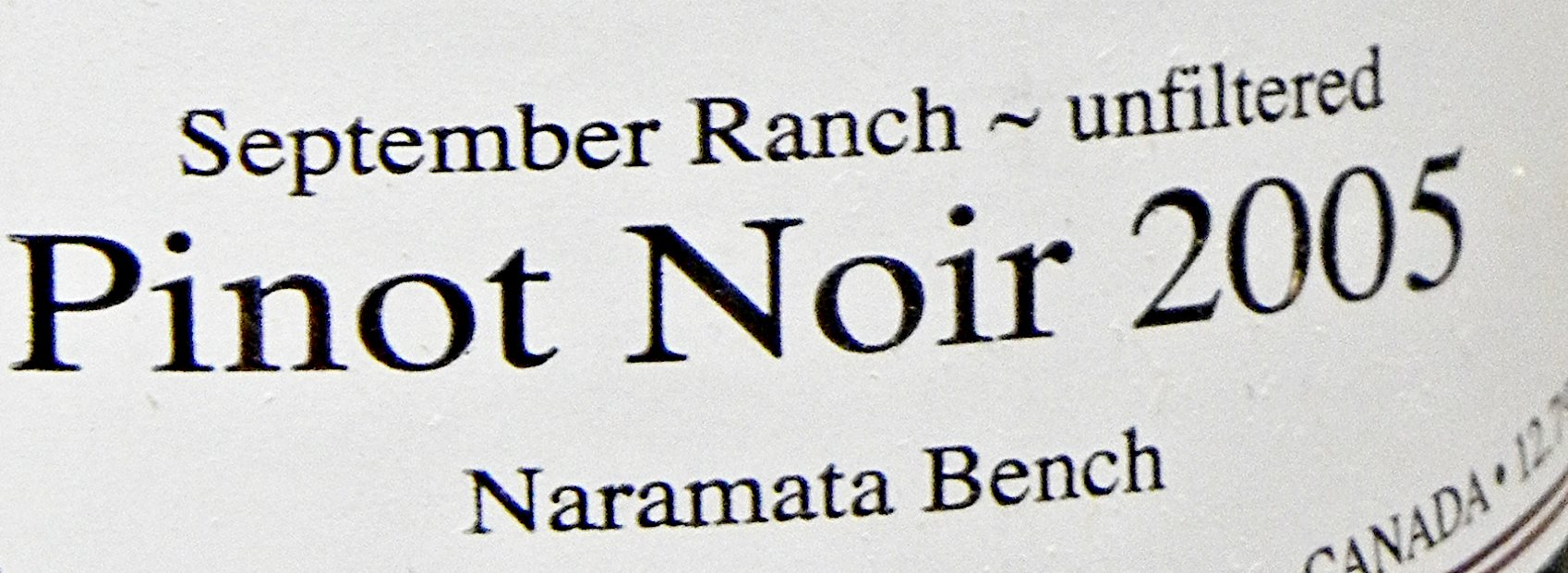 Nichol Vineyard 2005 Label Detail BC Pinot Noir Tasting Review 3